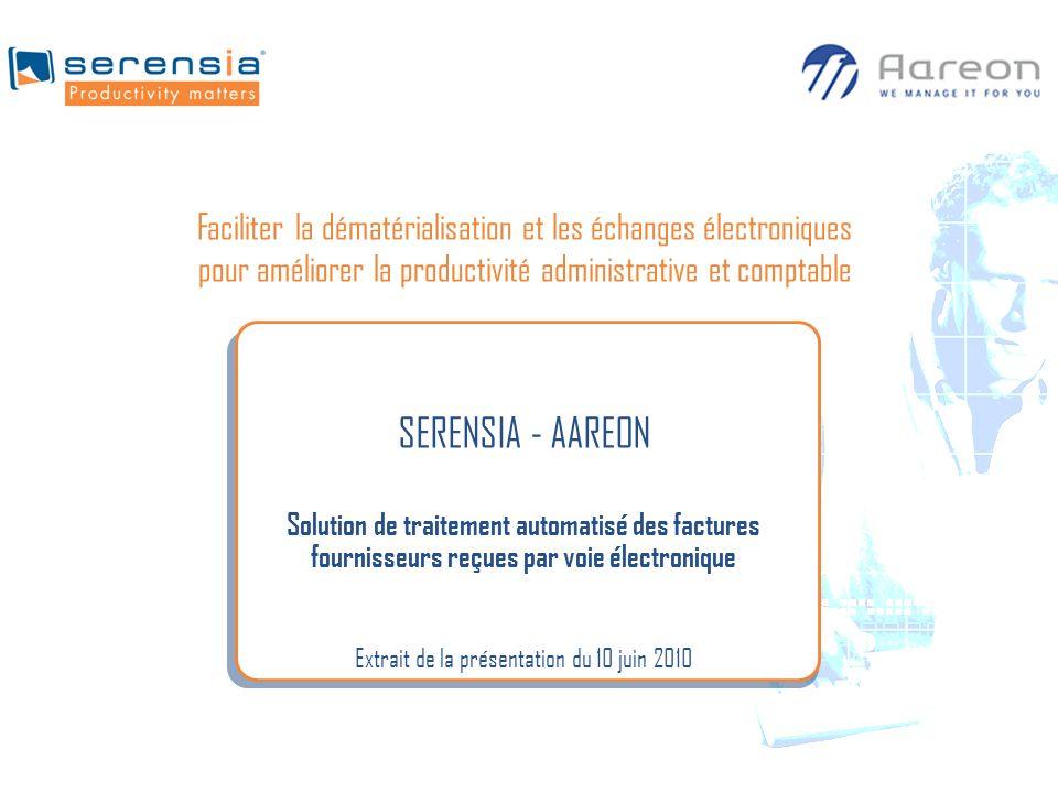 SERENSIA - AAREON Solution de traitement automatisé des factures fournisseurs reçues par voie électronique Extrait de la présentation du 10 juin 2010
