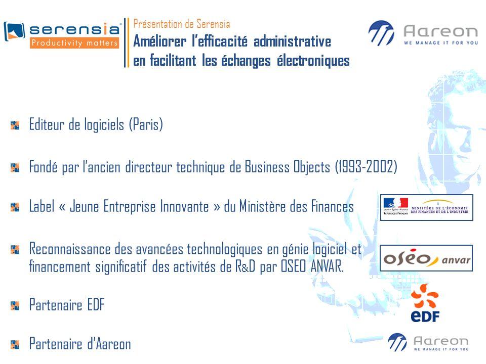 Présentation de Serensia Améliorer lefficacité administrative en facilitant les échanges électroniques Editeur de logiciels (Paris) Fondé par lancien