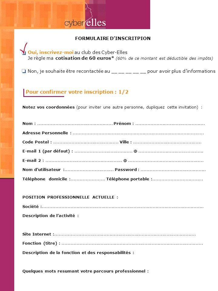 FORMULAIRE DINSCRITPION Pour confirmer votre inscription 2/2 Choisissez la description la + proche de votre position professionnelle actuelle :  Créatrice Responsable de service  Directrice Marketing  Free Lance Webmastrice  Graphiste  Autres (préciser) :..........................................................................................