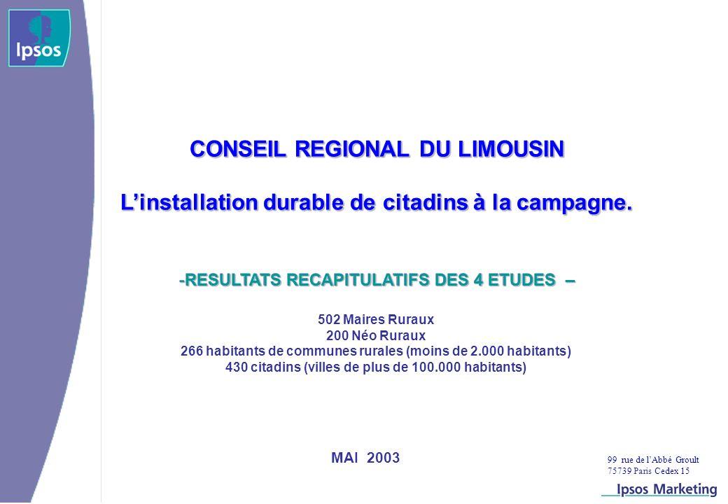 99 rue de lAbbé Groult 75739 Paris Cedex 15 MAI 2003 CONSEIL REGIONAL DU LIMOUSIN Linstallation durable de citadins à la campagne.