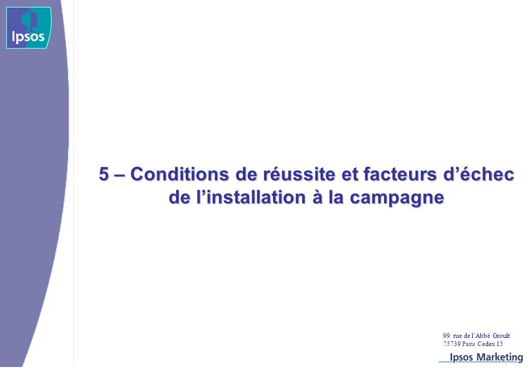 99 rue de lAbbé Groult 75739 Paris Cedex 15 5 – Conditions de réussite et facteurs déchec de linstallation à la campagne