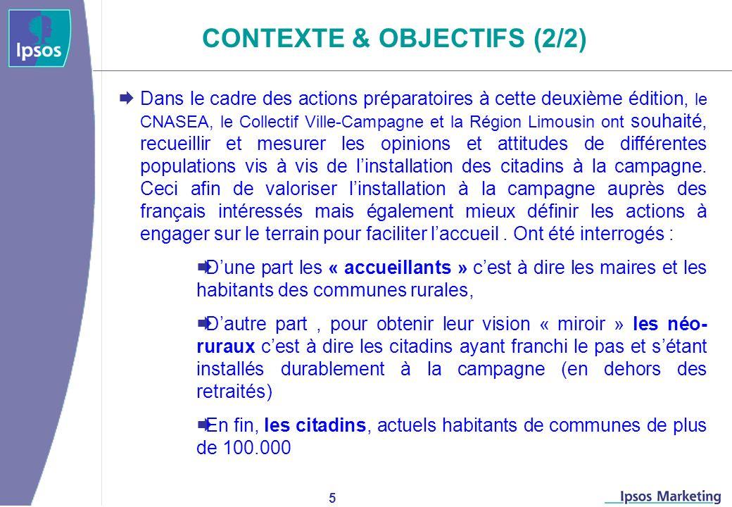 5 CONTEXTE & OBJECTIFS (2/2) Dans le cadre des actions préparatoires à cette deuxième édition, le CNASEA, le Collectif Ville-Campagne et la Région Limousin ont souhaité, recueillir et mesurer les opinions et attitudes de différentes populations vis à vis de linstallation des citadins à la campagne.