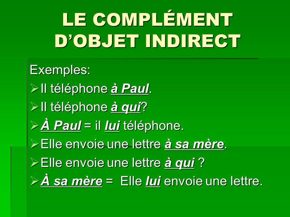 LE COMPLÉMENT D OBJET INDIRECT Exemples: Il téléphone à Paul. Il téléphone à Paul. Il téléphone à qui? Il téléphone à qui? À Paul = il lui téléphone.