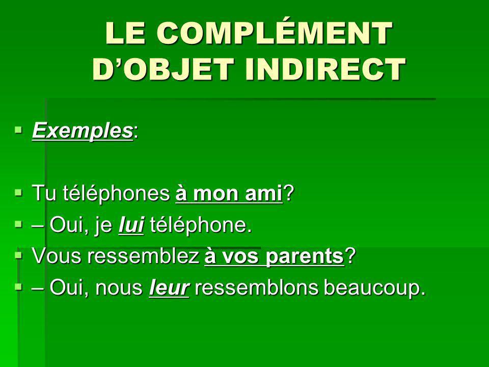 LE COMPLÉMENT D OBJET INDIRECT Exemples: Exemples: Tu téléphones à mon ami? Tu téléphones à mon ami? – Oui, je lui téléphone. – Oui, je lui téléphone.