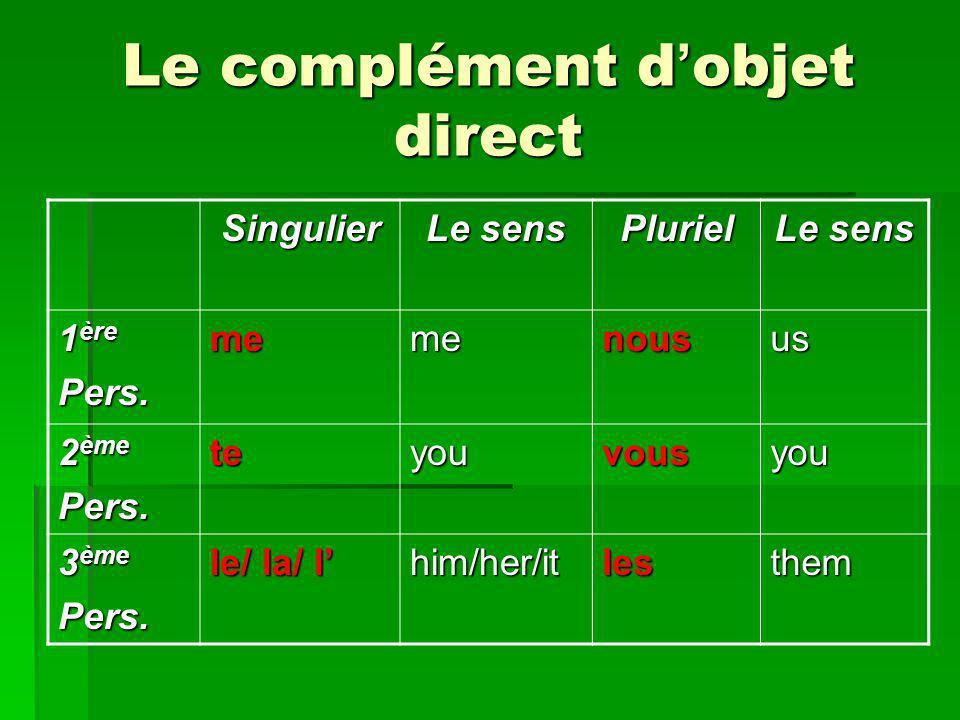 Le complément d objet direct Singulier Le sens Pluriel 1 ère Pers.memenousus 2 ème Pers.teyouvousyou 3 ème Pers. le/ la/ l him/her/itlesthem