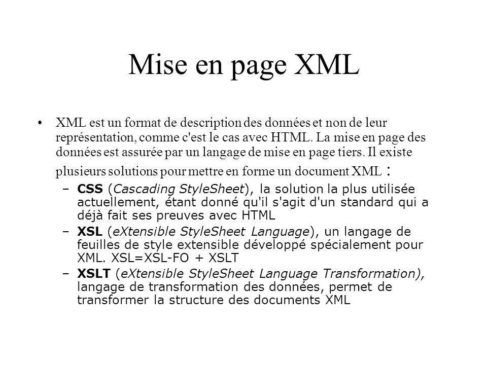Mise en page XML XML est un format de description des données et non de leur représentation, comme c'est le cas avec HTML. La mise en page des données