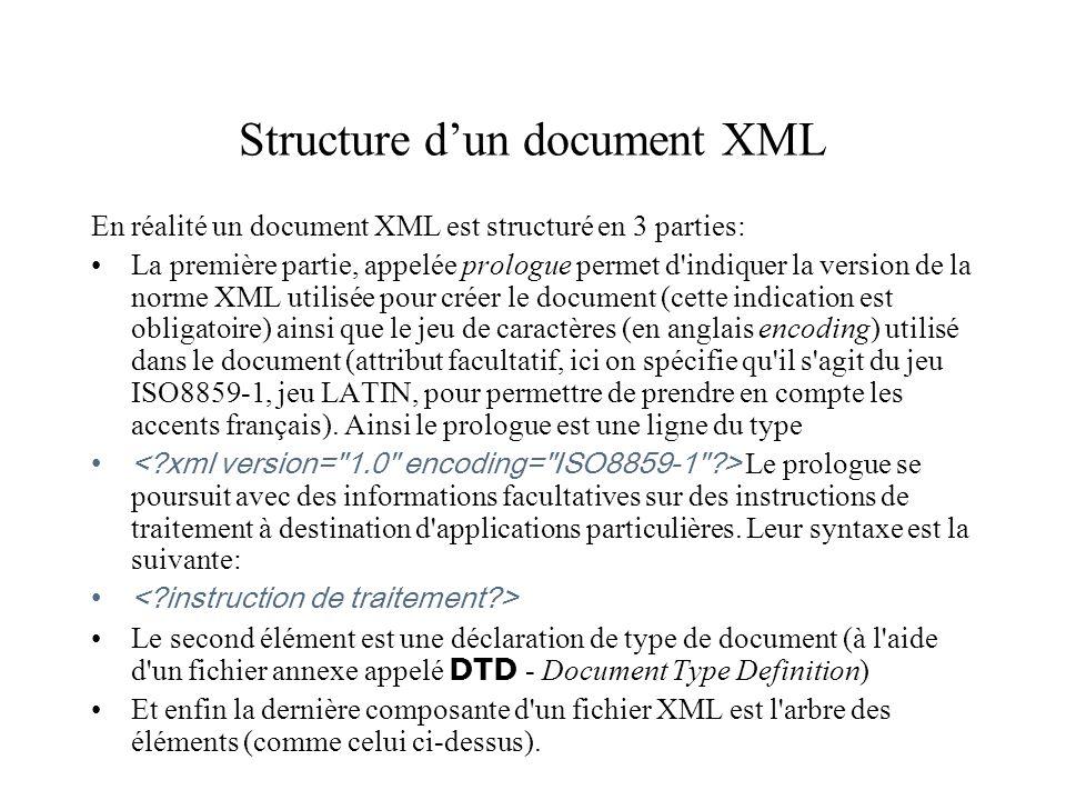 Structure dun document XML En réalité un document XML est structuré en 3 parties: La première partie, appelée prologue permet d'indiquer la version de