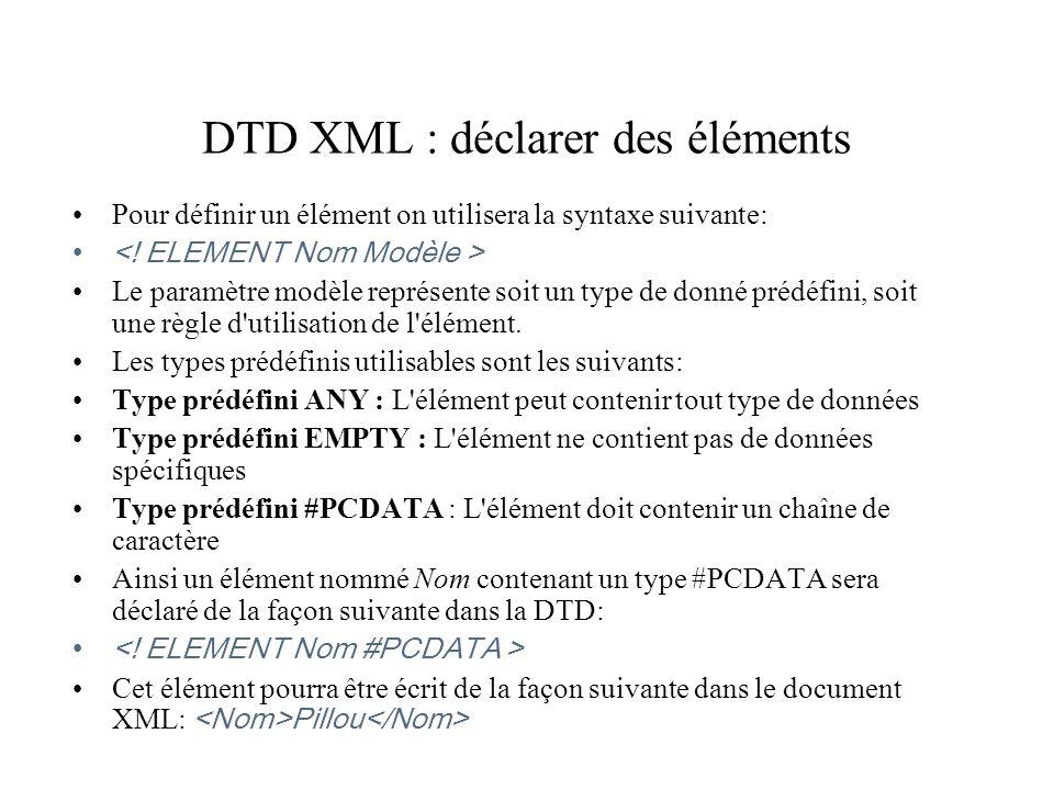 DTD XML : déclarer des éléments Pour définir un élément on utilisera la syntaxe suivante: Le paramètre modèle représente soit un type de donné prédéfi