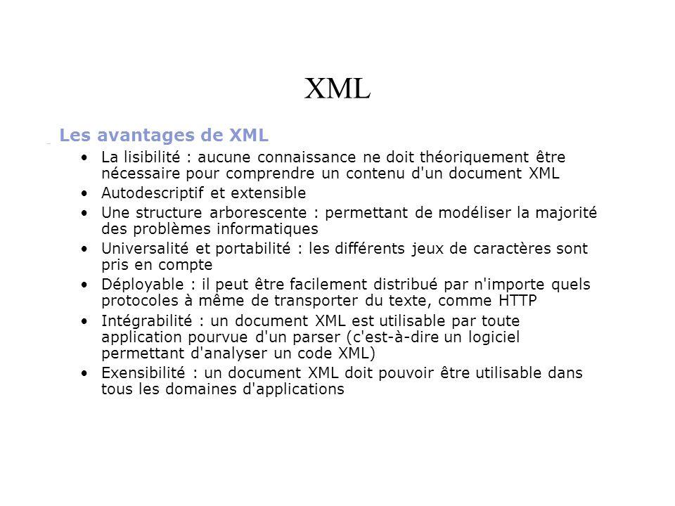 XML Les avantages de XML La lisibilité : aucune connaissance ne doit théoriquement être nécessaire pour comprendre un contenu d'un document XML Autode