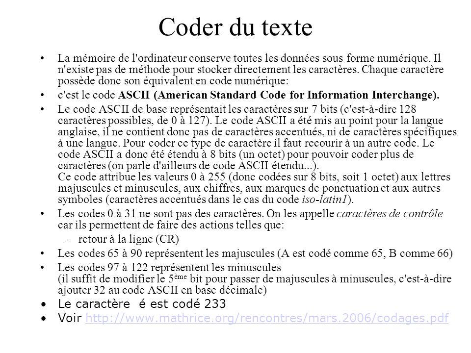 Coder du texte La mémoire de l'ordinateur conserve toutes les données sous forme numérique. Il n'existe pas de méthode pour stocker directement les ca