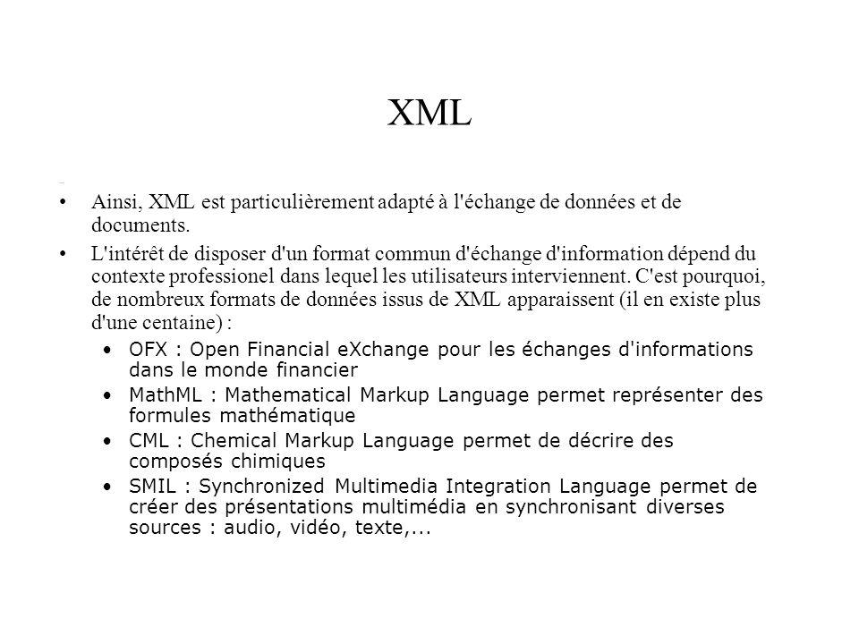 XML Ainsi, XML est particulièrement adapté à l'échange de données et de documents. L'intérêt de disposer d'un format commun d'échange d'information dé