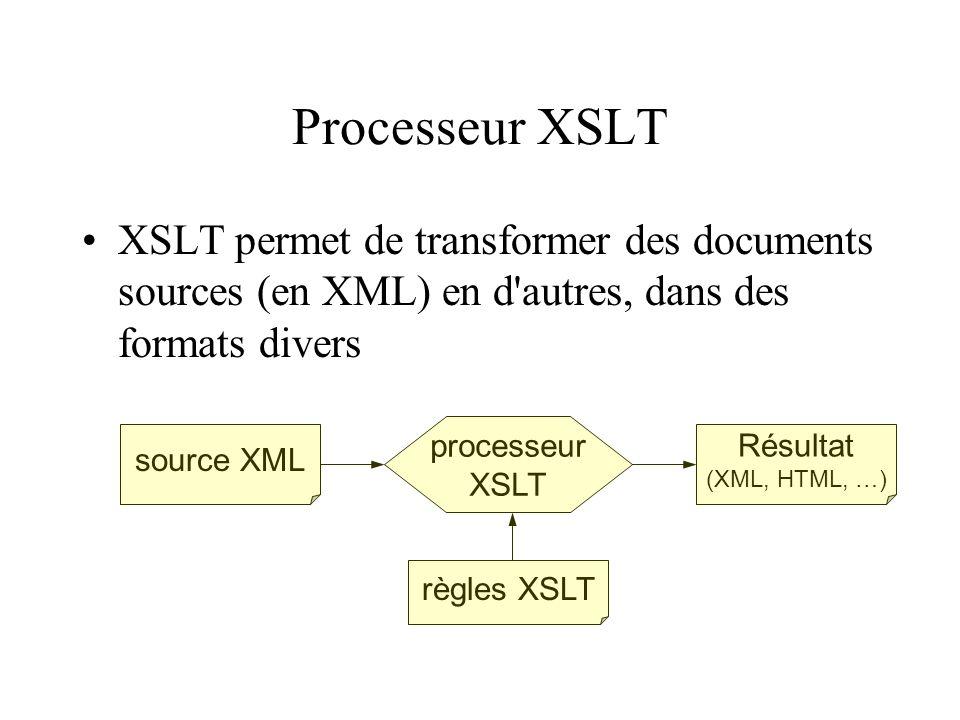 Processeur XSLT XSLT permet de transformer des documents sources (en XML) en d'autres, dans des formats divers source XML règles XSLT processeur XSLT