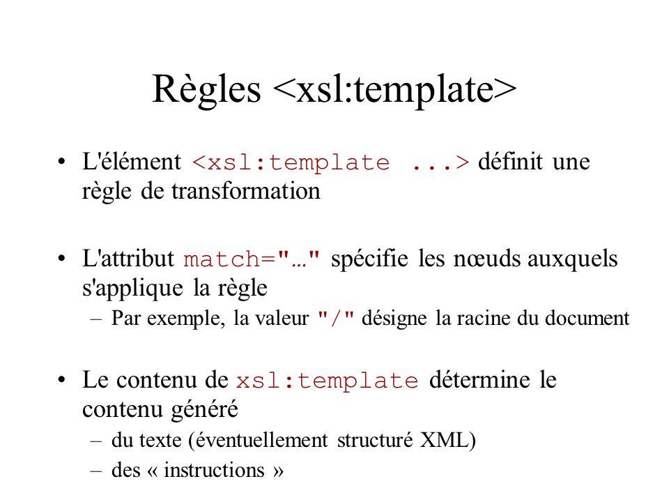 Règles L'élément définit une règle de transformation L'attribut match=