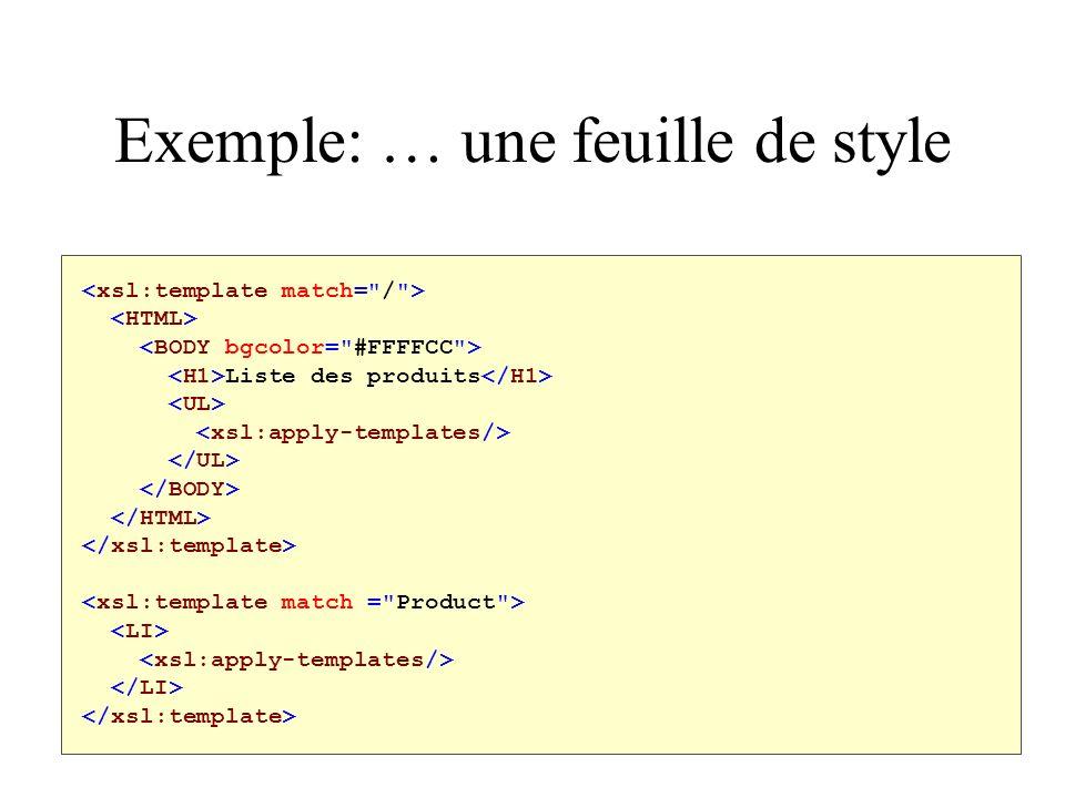 Exemple: … une feuille de style Liste des produits