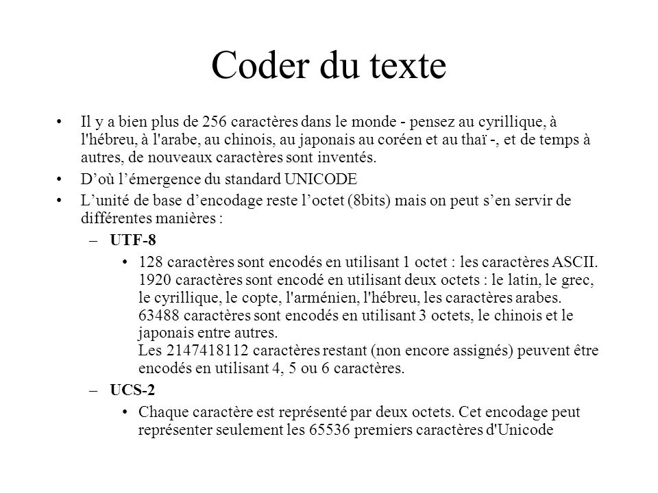 Coder du texte Il y a bien plus de 256 caractères dans le monde - pensez au cyrillique, à l'hébreu, à l'arabe, au chinois, au japonais au coréen et au