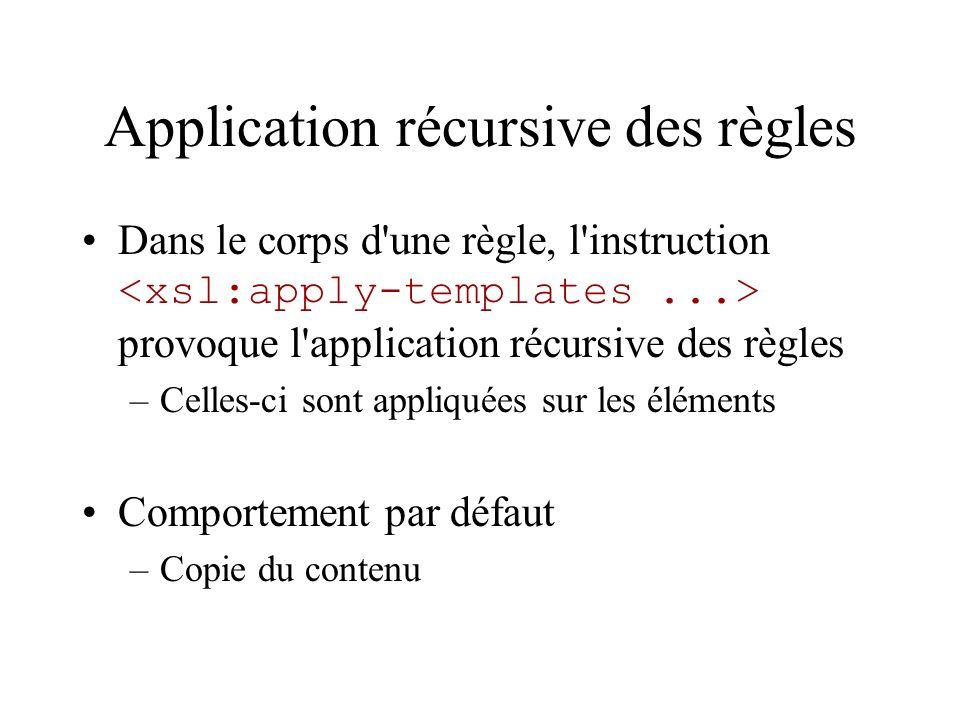 Application récursive des règles Dans le corps d'une règle, l'instruction provoque l'application récursive des règles –Celles-ci sont appliquées sur l