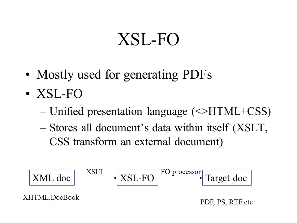 XSL-FO Mostly used for generating PDFs XSL-FO –Unified presentation language (<>HTML+CSS) –Stores all documents data within itself (XSLT, CSS transfor