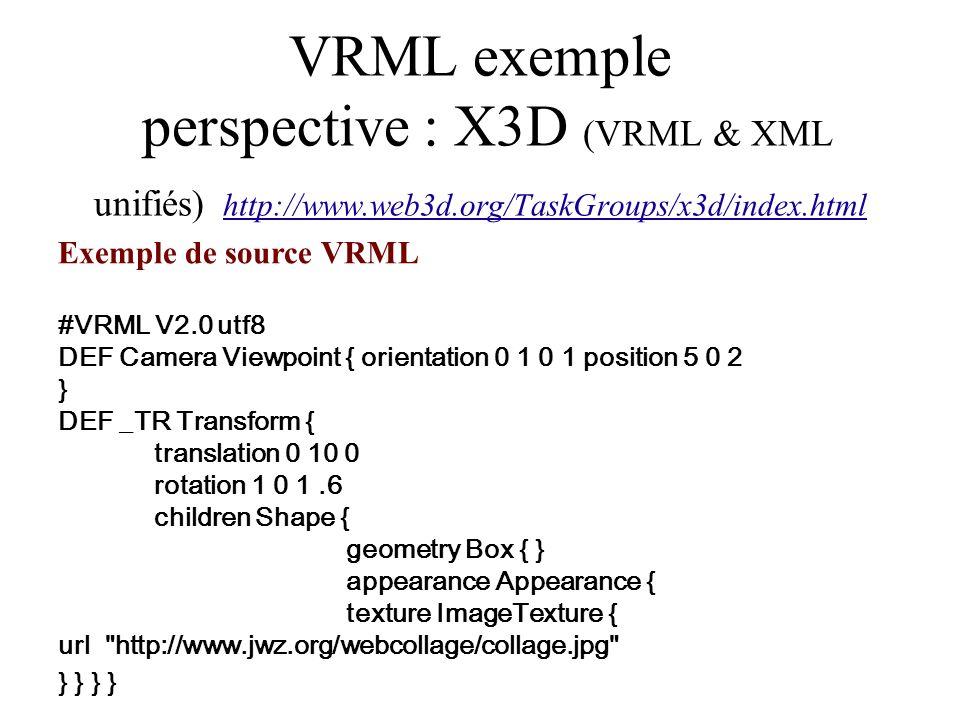 VRML exemple perspective : X3D (VRML & XML unifiés) http://www.web3d.org/TaskGroups/x3d/index.html Exemple de source VRML #VRML V2.0 utf8 DEF Camera V