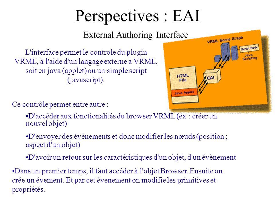 Perspectives : EAI Ce contrôle permet entre autre : D'accéder aux fonctionalités du browser VRML (ex : créer un nouvel objet) D'envoyer des évènements
