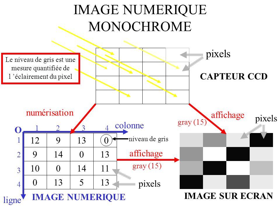 0 12 9 9 14 13 0 10 0 0 13 14 5 11 13 CAPTEUR CCD IMAGE NUMERIQUE IMAGE SUR ECRAN numérisation affichage colonne ligne O pixels niveau de gris 1234 1