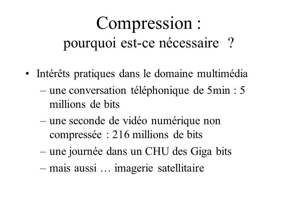 Compression : pourquoi est-ce nécessaire ? Intérêts pratiques dans le domaine multimédia –une conversation téléphonique de 5min : 5 millions de bits –
