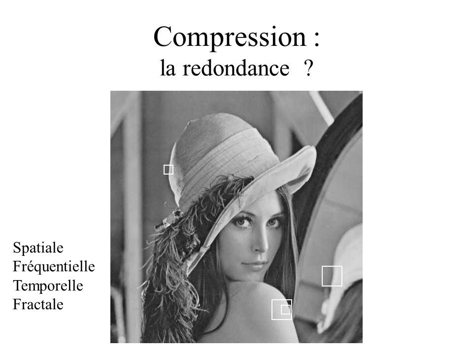 Compression : la redondance ? Spatiale Fréquentielle Temporelle Fractale