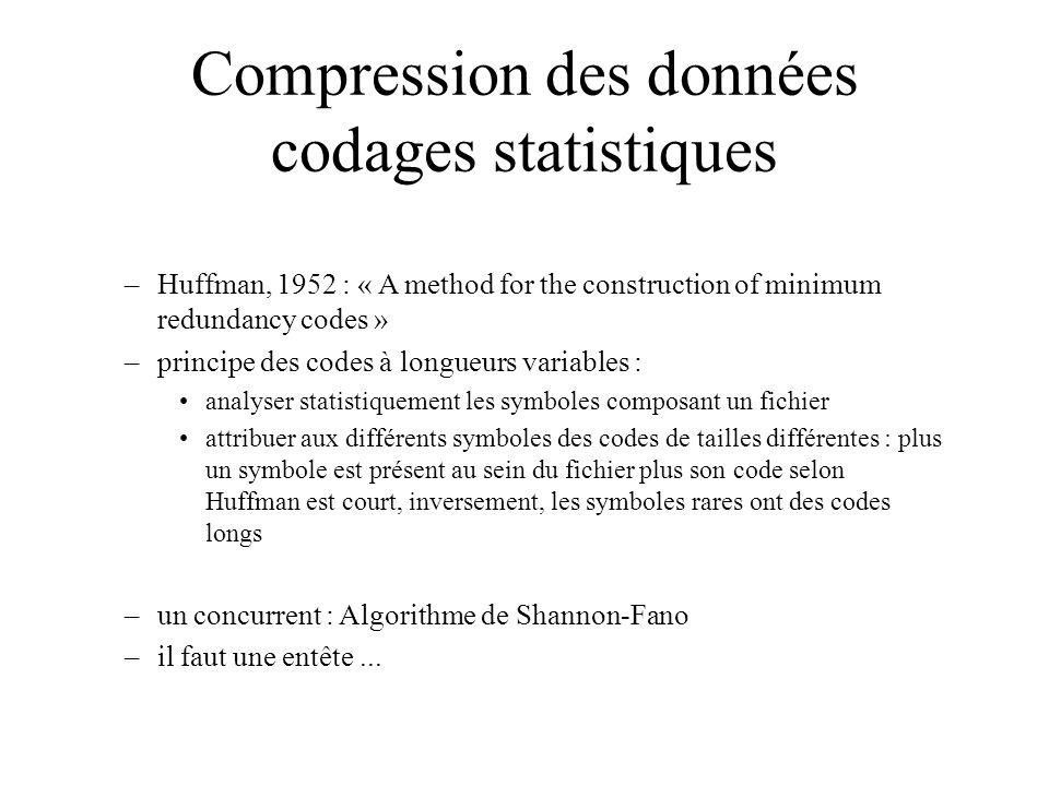 Compression des données codages statistiques –Huffman, 1952 : « A method for the construction of minimum redundancy codes » –principe des codes à long