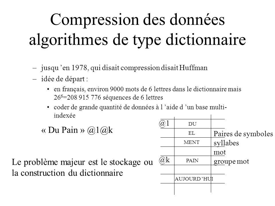 Compression des données algorithmes de type dictionnaire –jusqu en 1978, qui disait compression disait Huffman –idée de départ : en français, environ