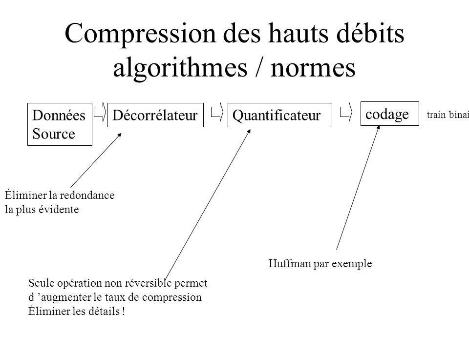 Compression des hauts débits algorithmes / normes Données Source DécorrélateurQuantificateur codage train binaire Éliminer la redondance la plus évide