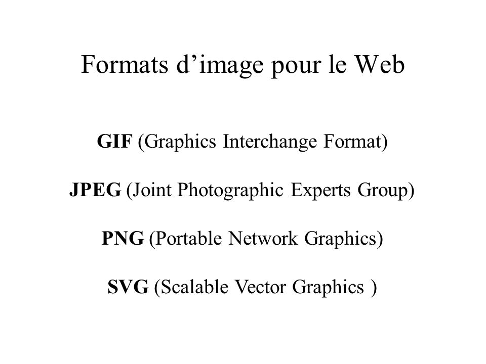 Formats dimage pour le Web GIF (Graphics Interchange Format) JPEG (Joint Photographic Experts Group) PNG (Portable Network Graphics) SVG (Scalable Vector Graphics )