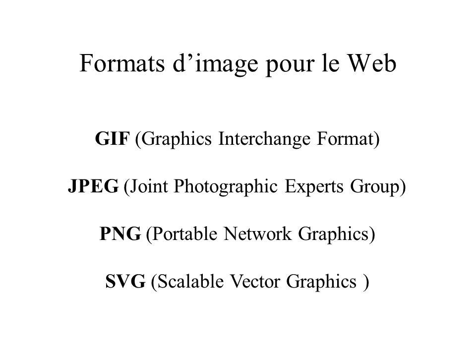 Formats dimage pour le Web GIF (Graphics Interchange Format) JPEG (Joint Photographic Experts Group) PNG (Portable Network Graphics) SVG (Scalable Vec