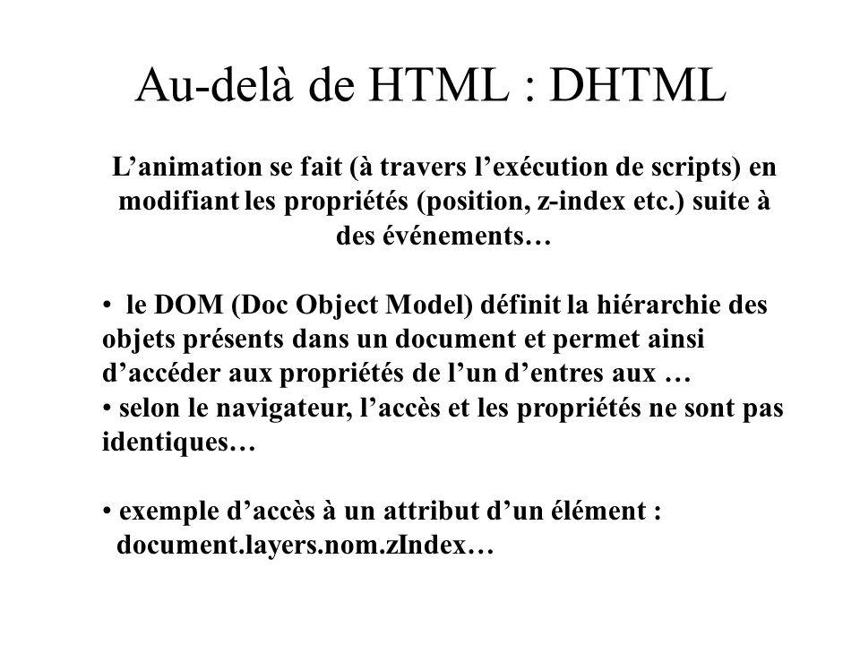 Au-delà de HTML : DHTML Lanimation se fait (à travers lexécution de scripts) en modifiant les propriétés (position, z-index etc.) suite à des événemen