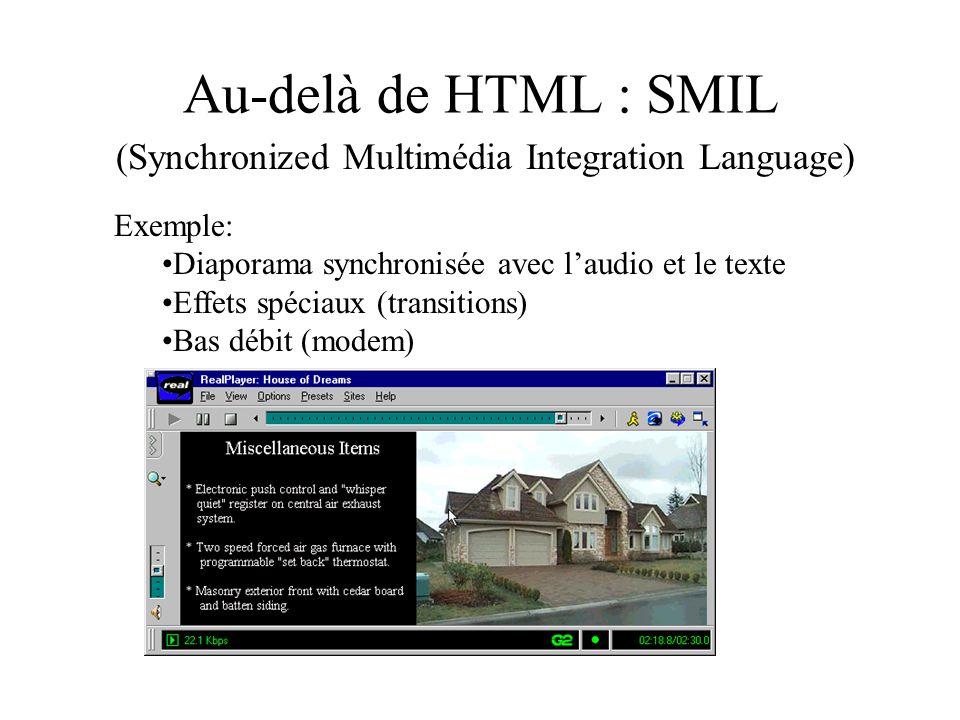 Au-delà de HTML : SMIL (Synchronized Multimédia Integration Language) Exemple: Diaporama synchronisée avec laudio et le texte Effets spéciaux (transit