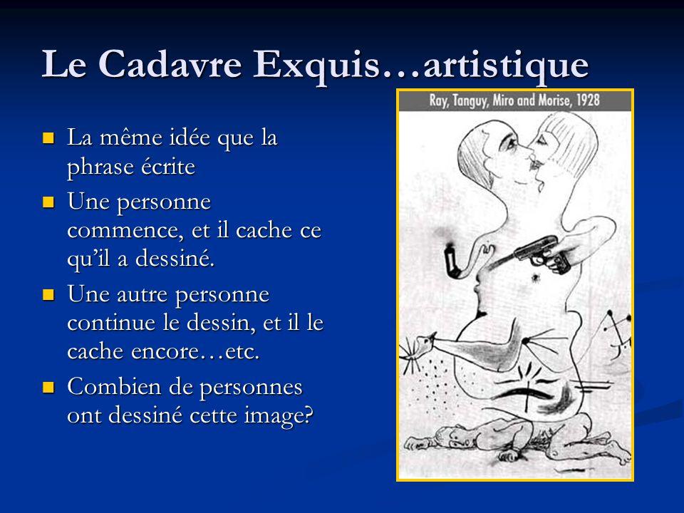 Le Cadavre Exquis…artistique La même idée que la phrase écrite La même idée que la phrase écrite Une personne commence, et il cache ce quil a dessiné.