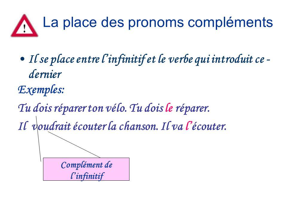 La place des pronoms compléments Il se place entre linfinitif et le verbe qui introduit ce - dernier Exemples: Tu dois réparer ton vélo. Tu dois le ré