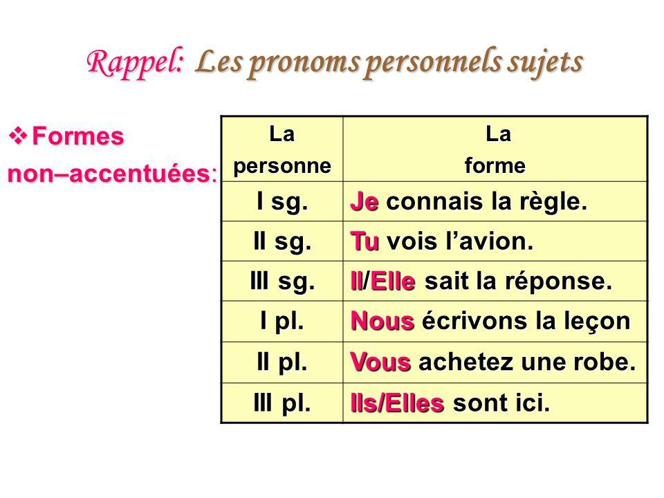 Rappel: Les pronoms personnels sujets Formes Formes non–accentuées: Lapersonne La Laforme I sg. Je connais la règle. II sg. Tu vois lavion. III sg. Il