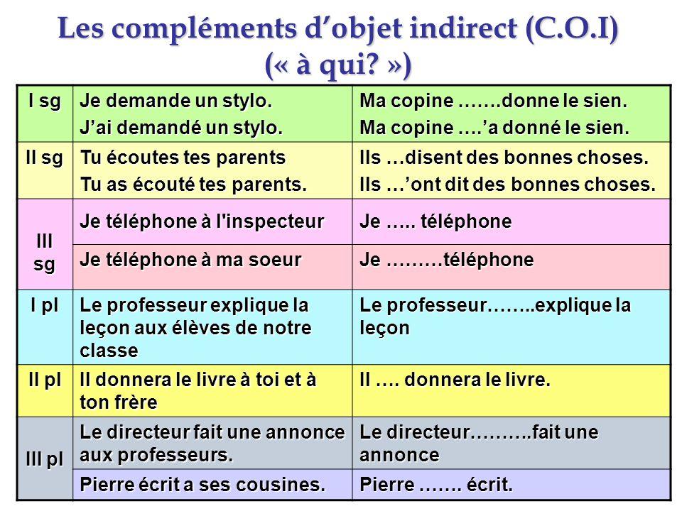 Les compléments dobjet indirect (C.O.I) (« à qui? ») I sg Je demande un stylo. Jai demandé un stylo. Ma copine …….donne le sien. Ma copine ….a donné l