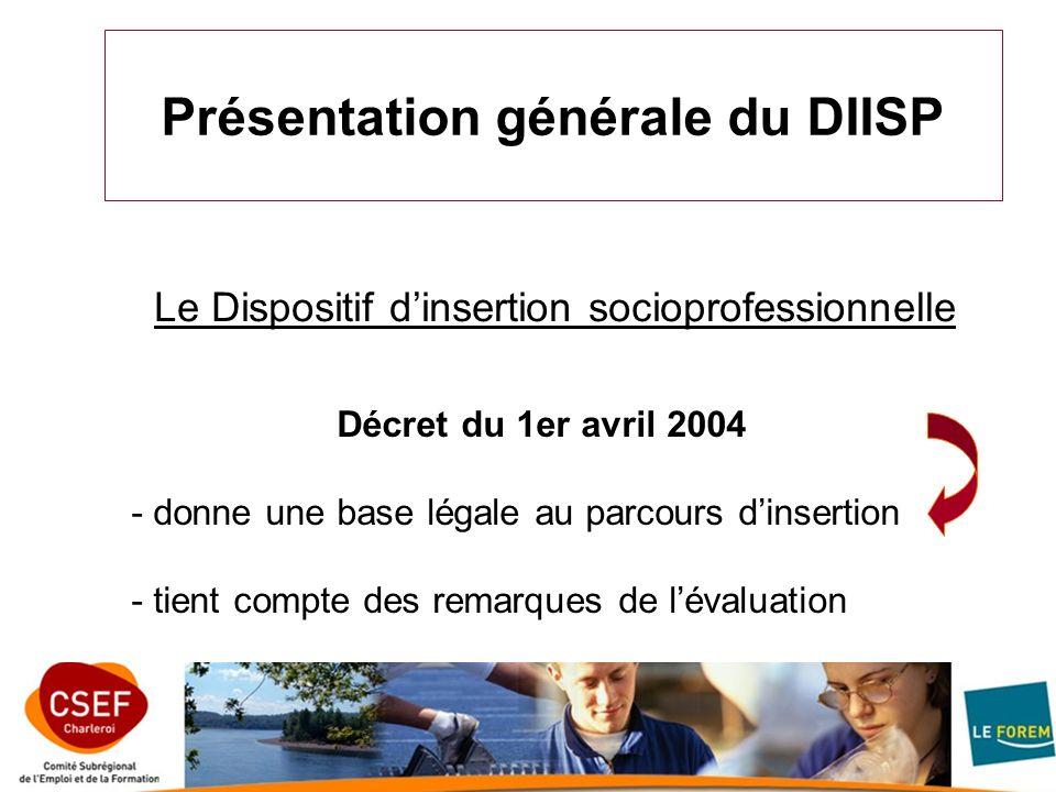 Présentation générale du DIISP Décret du 1er avril 2004 - donne une base légale au parcours dinsertion - tient compte des remarques de lévaluation Le Dispositif dinsertion socioprofessionnelle