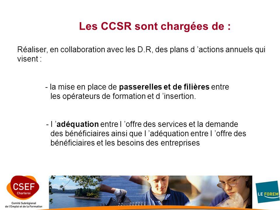 Les CCSR sont chargées de : Réaliser, en collaboration avec les D.R, des plans d actions annuels qui visent : - la mise en place de passerelles et de filières entre les opérateurs de formation et d insertion.
