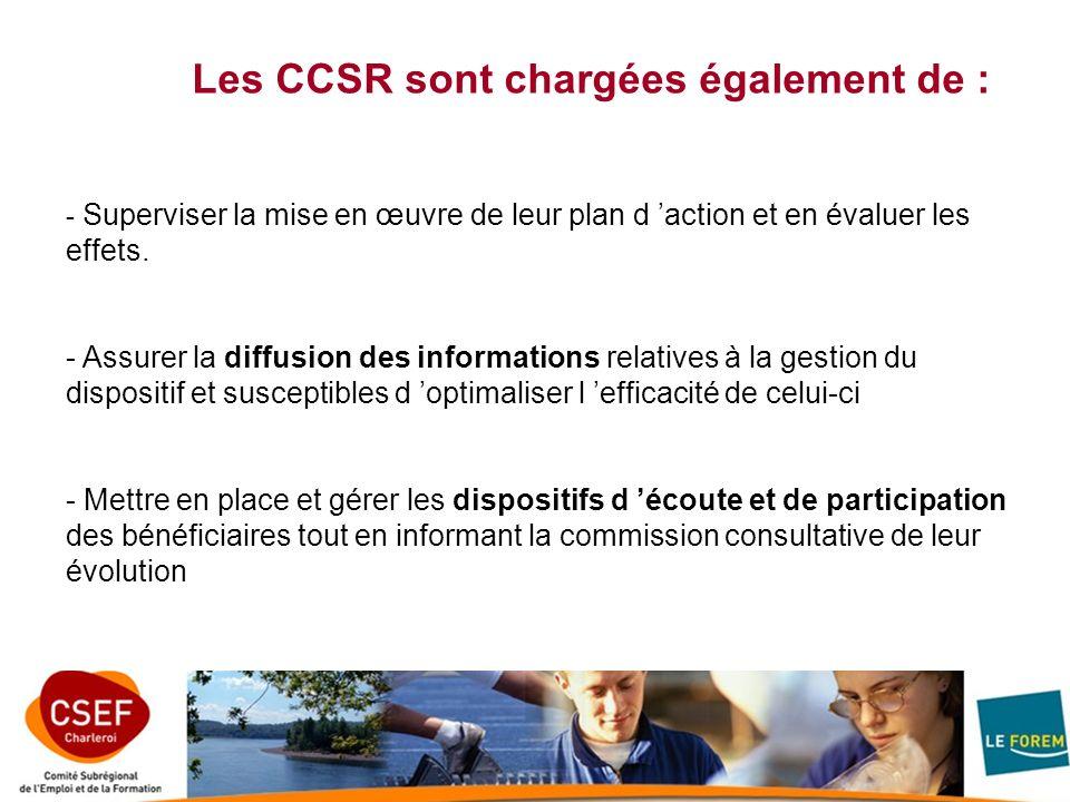 Les CCSR sont chargées également de : - Superviser la mise en œuvre de leur plan d action et en évaluer les effets. - Assurer la diffusion des informa