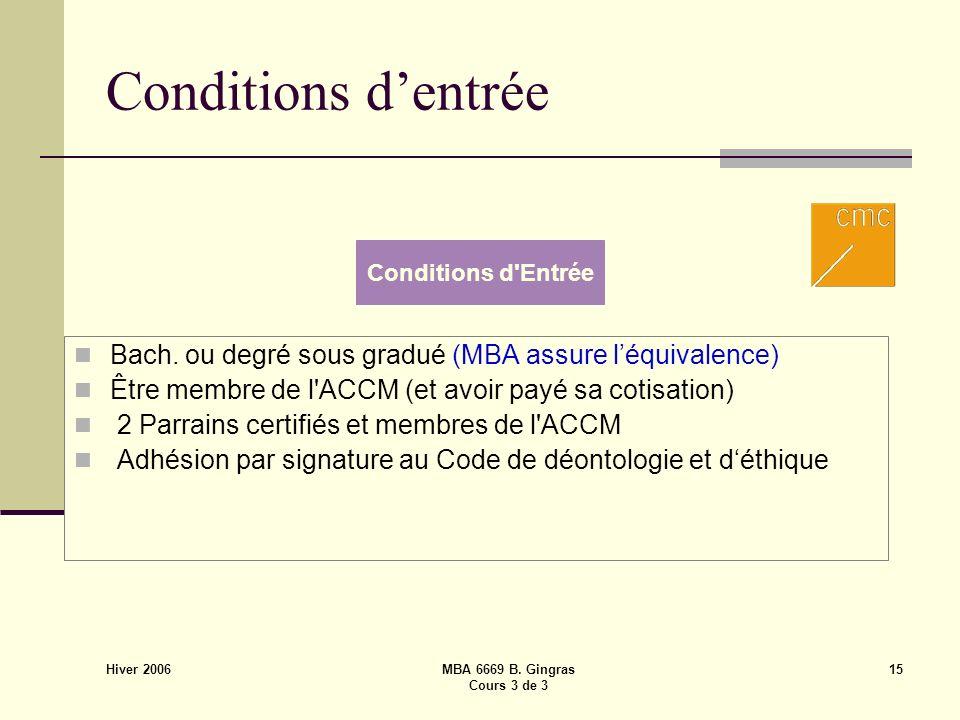 Hiver 2006 MBA 6669 B. Gingras Cours 3 de 3 15 Conditions dentrée Bach. ou degré sous gradué (MBA assure léquivalence) Être membre de l'ACCM (et avoir