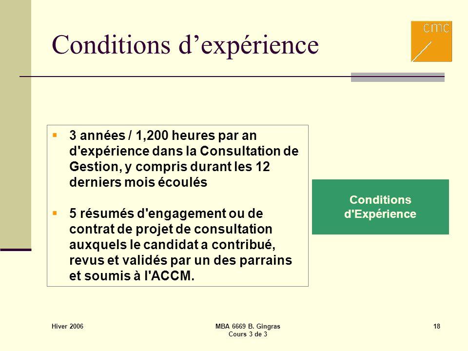 Hiver 2006 MBA 6669 B. Gingras Cours 3 de 3 18 Conditions dexpérience Conditions d'Expérience 3 années / 1,200 heures par an d'expérience dans la Cons