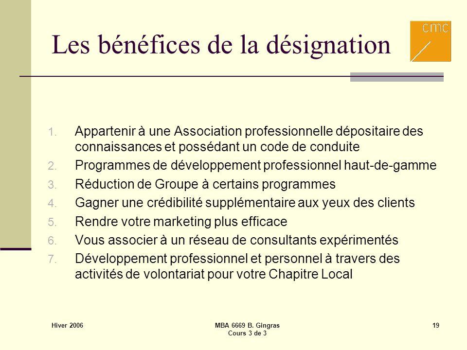 Hiver 2006 MBA 6669 B. Gingras Cours 3 de 3 19 Les bénéfices de la désignation 1. Appartenir à une Association professionnelle dépositaire des connais