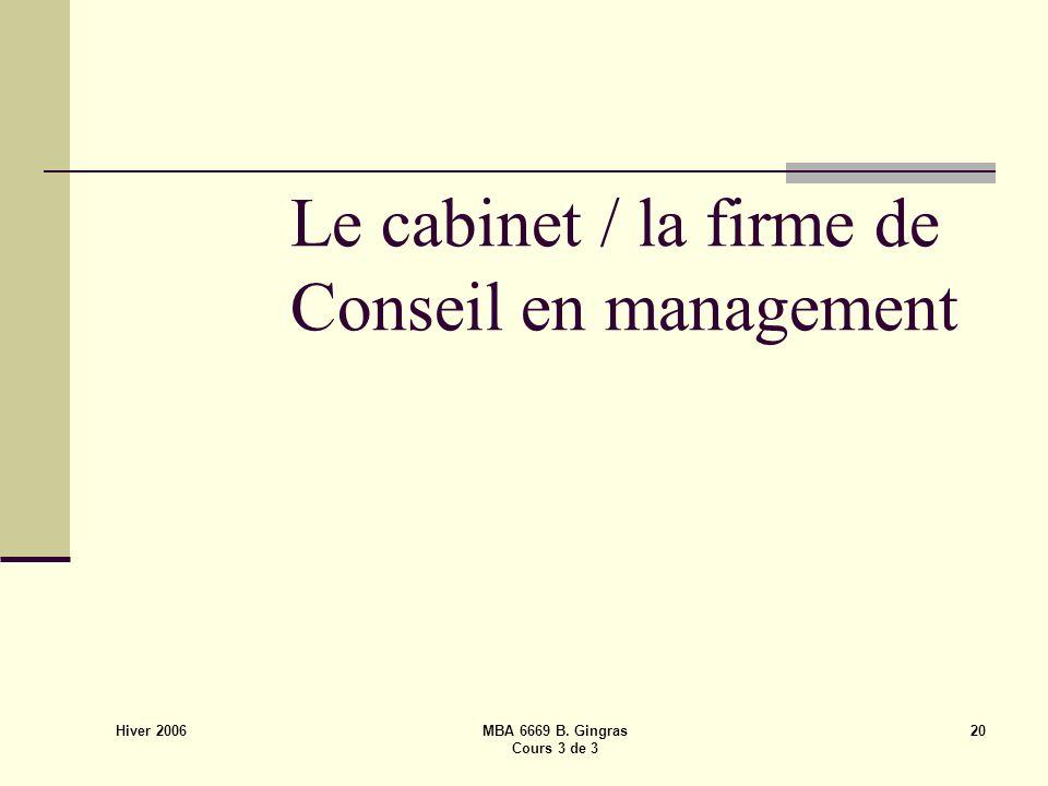 Hiver 2006 MBA 6669 B. Gingras Cours 3 de 3 20 Le cabinet / la firme de Conseil en management