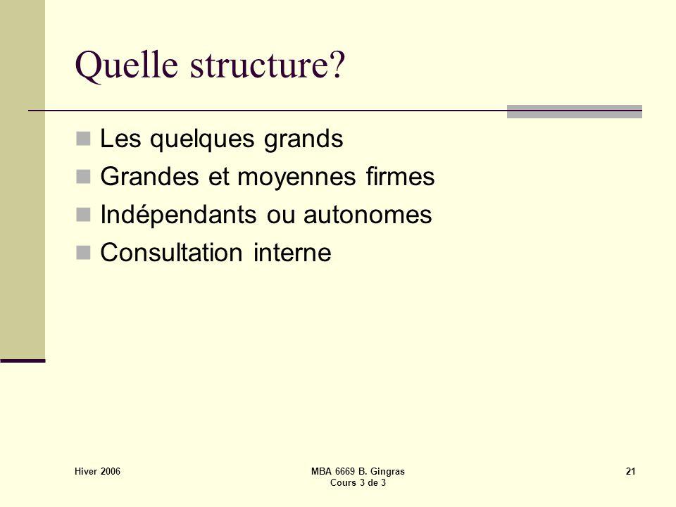 Hiver 2006 MBA 6669 B. Gingras Cours 3 de 3 21 Quelle structure.