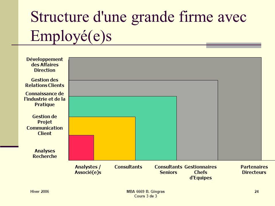 Hiver 2006 MBA 6669 B. Gingras Cours 3 de 3 24 Structure d'une grande firme avec Employé(e)s Gestionnaires Chefs d'Equipes Partenaires Directeurs Cons