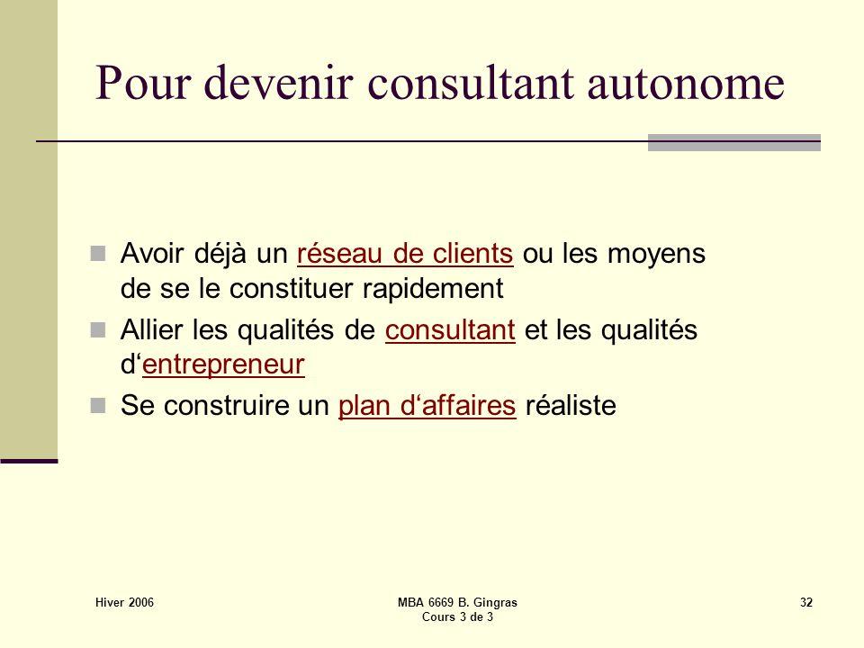 Hiver 2006 MBA 6669 B. Gingras Cours 3 de 3 32 Pour devenir consultant autonome Avoir déjà un réseau de clients ou les moyens de se le constituer rapi