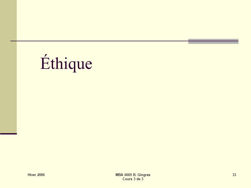 Hiver 2006 MBA 6669 B. Gingras Cours 3 de 3 33 Éthique