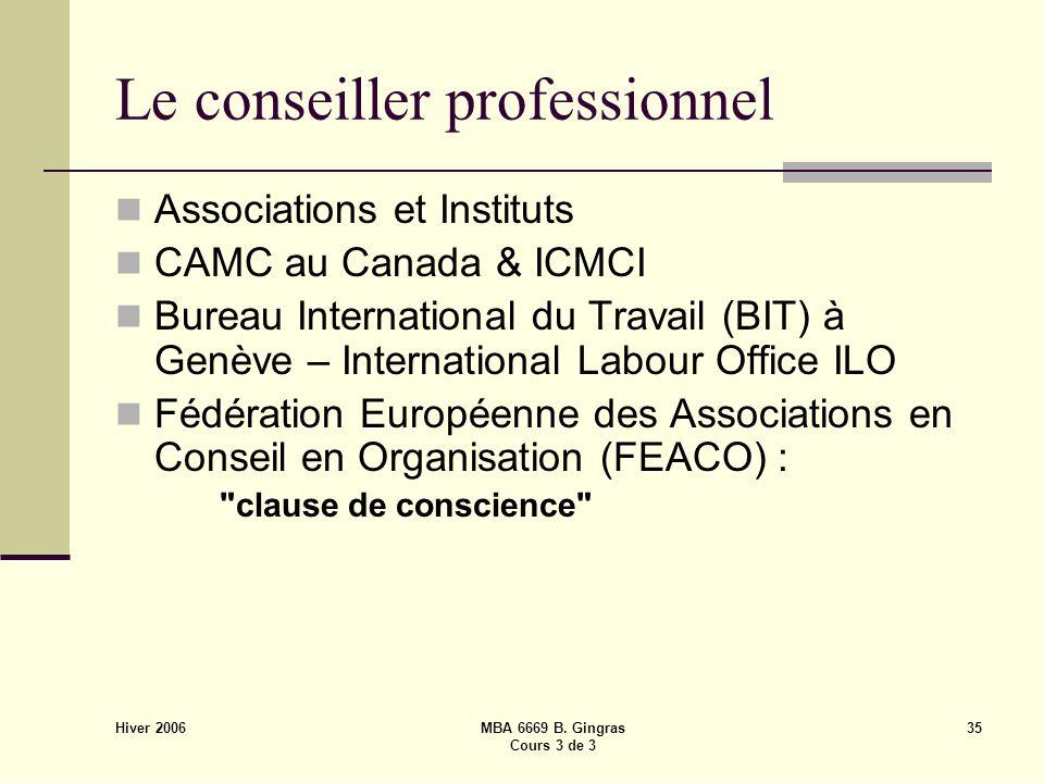 Hiver 2006 MBA 6669 B. Gingras Cours 3 de 3 35 Le conseiller professionnel Associations et Instituts CAMC au Canada & ICMCI Bureau International du Tr