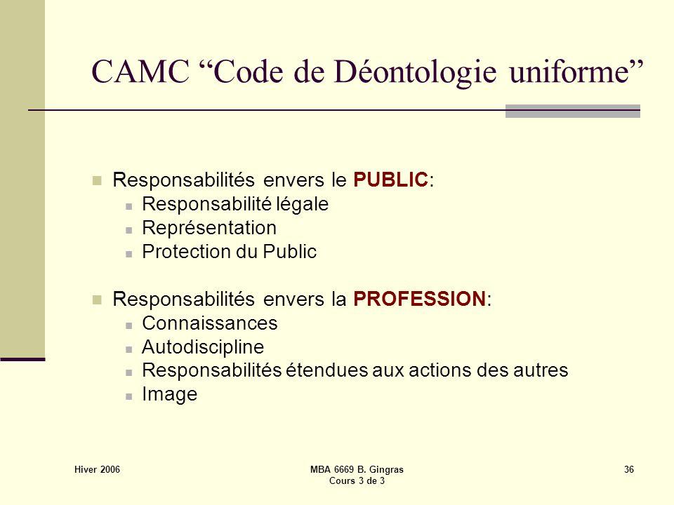 Hiver 2006 MBA 6669 B. Gingras Cours 3 de 3 36 CAMC Code de Déontologie uniforme Responsabilités envers le PUBLIC: Responsabilité légale Représentatio